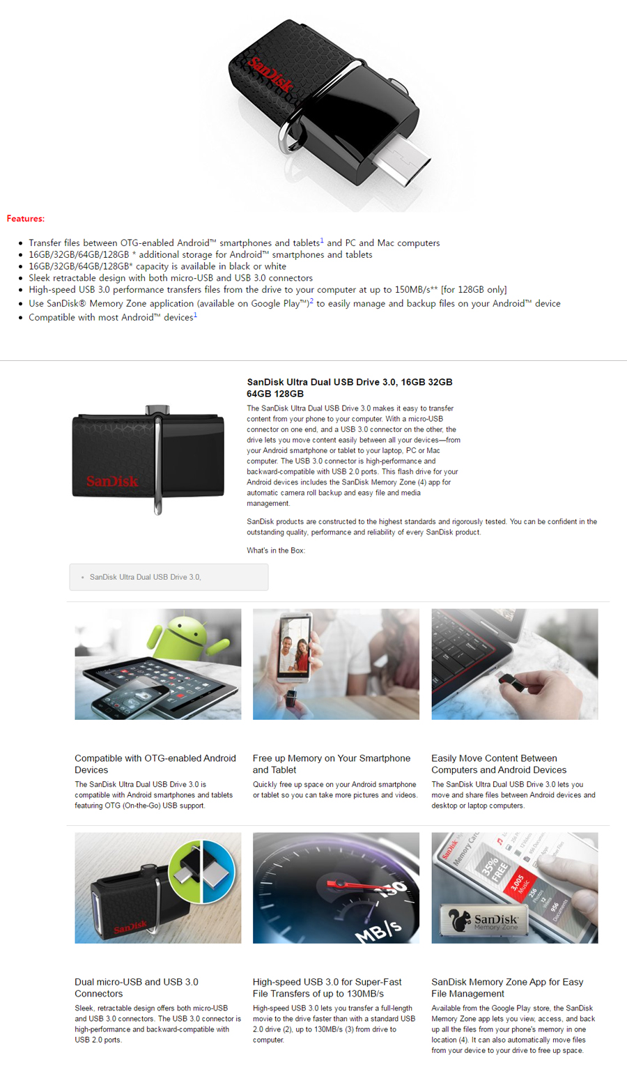 Every Need Want Day Sandisk Usb 20 Ultra Dual Drive Otg 32gb 16gb 64gb 30 Flash With Micro Connector For Android Devices Samsung